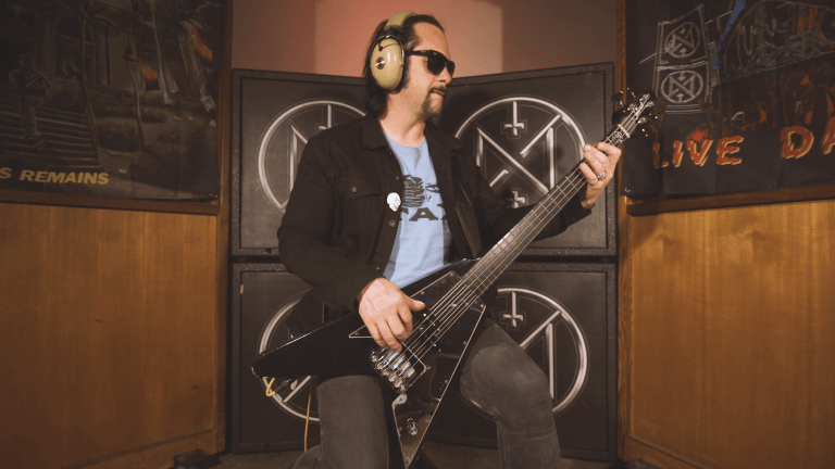 "Watch Jarvis Leatherby of Night Demon's Bass Playthrough of ""Empires Fall"""