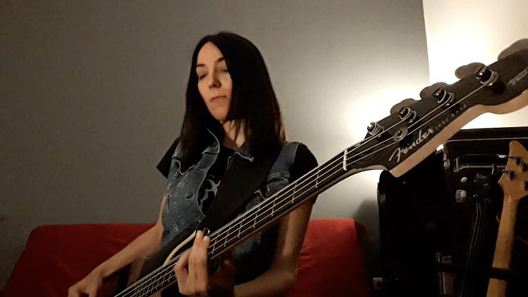 "Watch Vasiliki Biza of Nightfall's Bass Playthrough of ""Darkness Forever"""