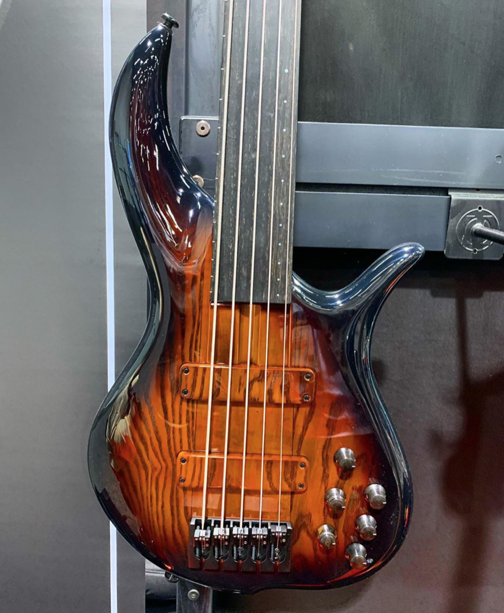An F Bass BN5 Fretless Bass.