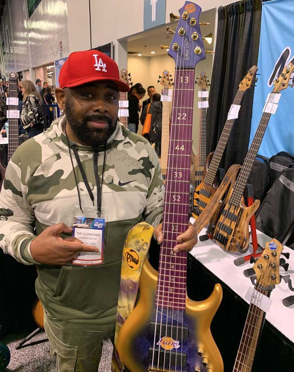 Andrew Gouche showing off his new MTD Lakers Signature Bass.