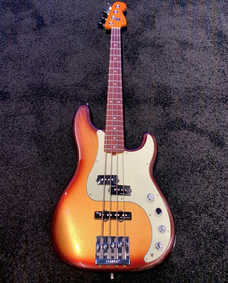 A Fender American Ultra Precision in Mocha Burst.