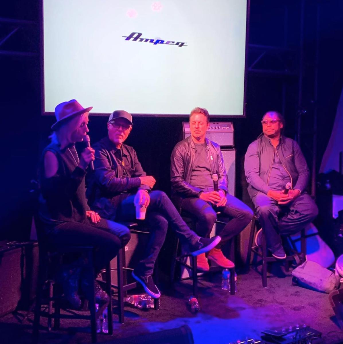 Eva Gardner, Bob Glaub, Sean Hurley, and Darryl Jones doing the Ampeg roundtable.