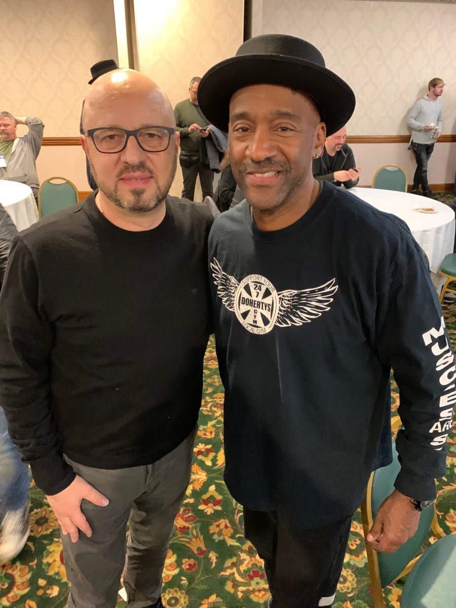 MarKbass owner MarcoDe Virgiliis with Marcus Miller.