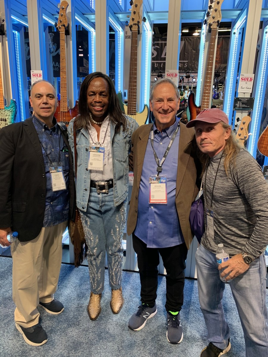 Bass Magazine Senior Editor Chris Jisi with Verdine White of Earth, Wind & Fire, Roger Sadowsky, and Steve Bailey.