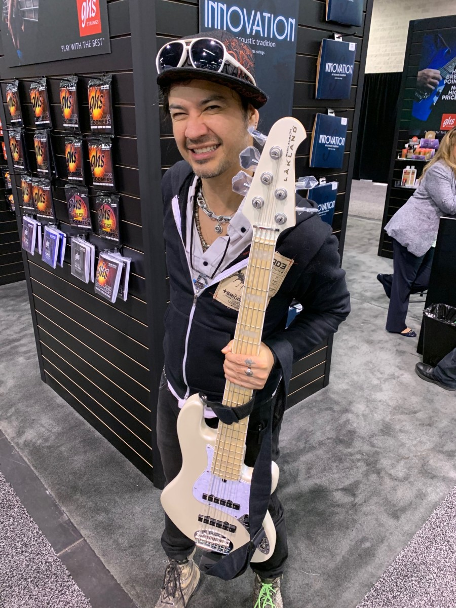Uriah Duffy with his trusty Lakland bass.