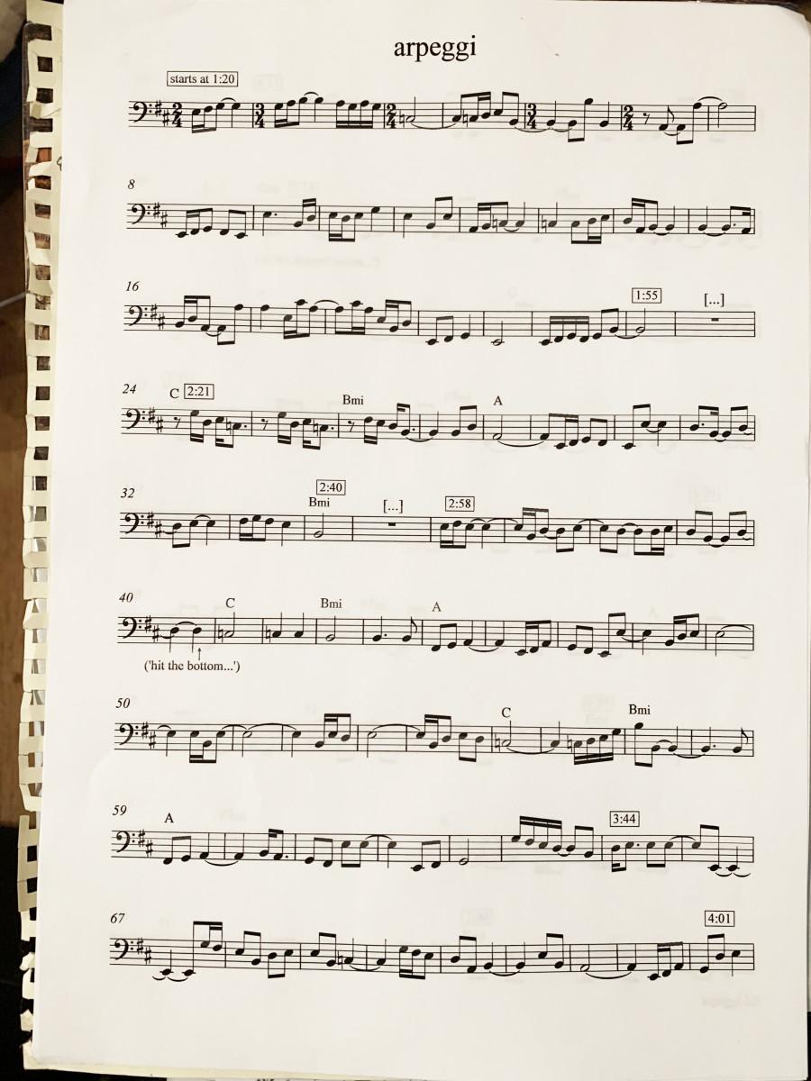 "Greenwood's original transcription for ""Arpeggi"""