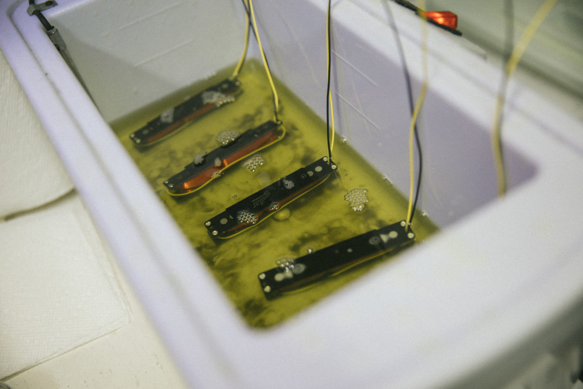 Jazz Bass pickups bathing in a wax pot