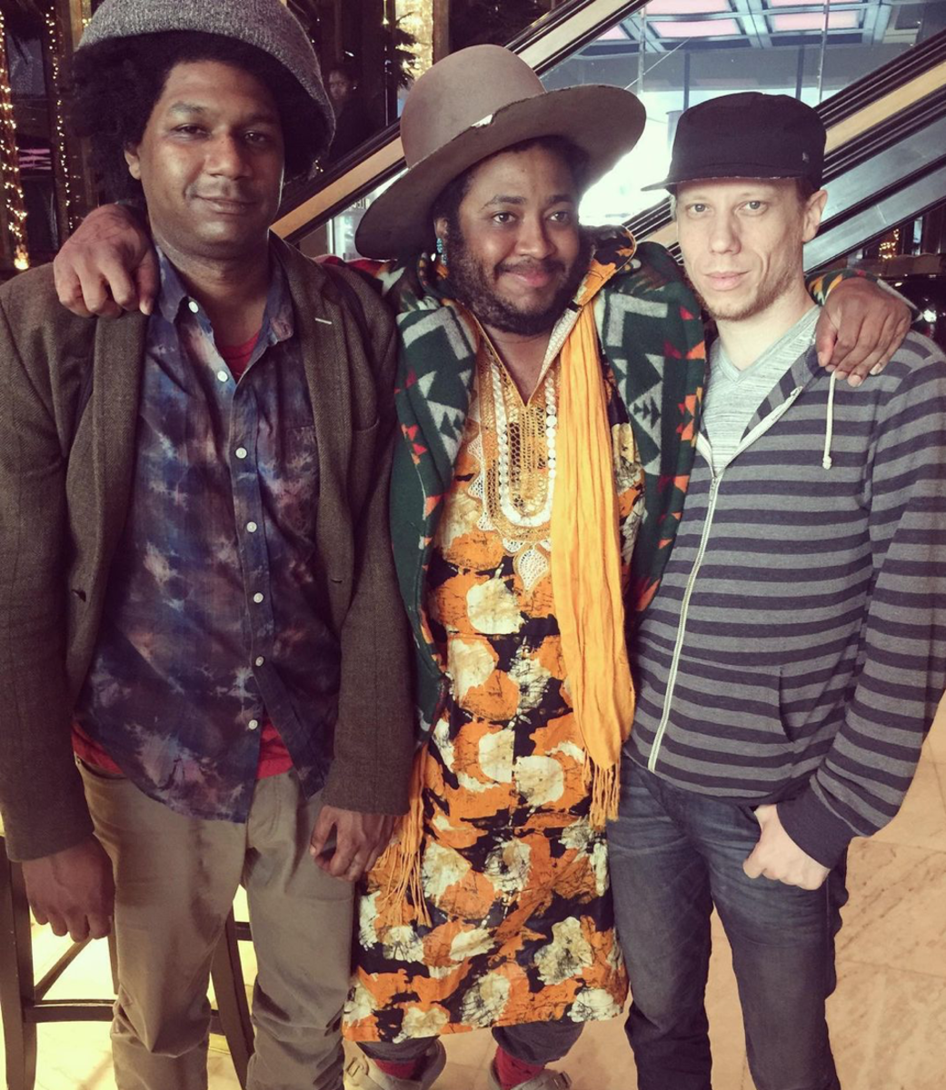 Drummer Justin Brown, Thundercat, and keyboardist Dennish Hamm. (Photo dennishammkeys)