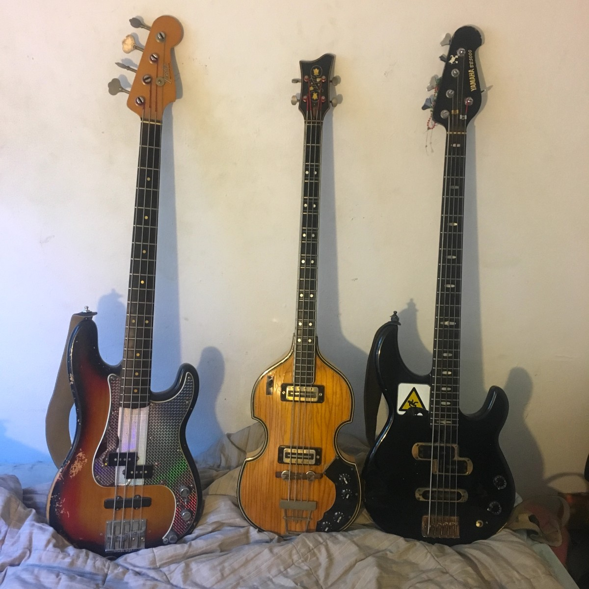 Steinberg's 1973 Fender Precision, 1962 Hofner, andYamaha BB5000