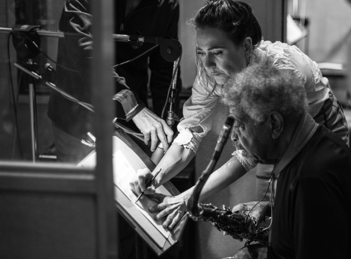 Disterheft composing with Coleman (photo by Marcela Joya)